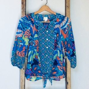 EUC Fig And Flower Mix Print Tie Waist Peasant Top